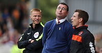 Blackpool manager Gary Bowyer has a difference of opinion with the fourth official<br /> <br /> Photographer Stephen White/CameraSport<br /> <br /> Football - The EFL Sky Bet League Two - Morecambe v Blackpool - Saturday 13th August 2016 - Globe arena - Morecambe<br /> <br /> World Copyright © 2016 CameraSport. All rights reserved. 43 Linden Ave. Countesthorpe. Leicester. England. LE8 5PG - Tel: +44 (0) 116 277 4147 - admin@camerasport.com - www.camerasport.com
