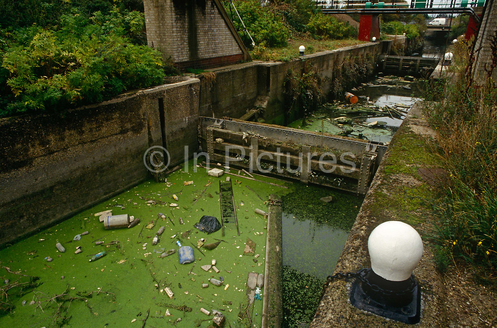 Rubbish and litter in the 1990s blocks the waterways of a canal, on 10th September 1994, in Stratford, east London, England. Algae and household pollution lies on the surface of the waters dug by navvies of the Victorian era when canals around Britain helped supply the industrial revolution with the raw ingredients to power the furnaces, mills and wharves of the transport age. This is a small outlet of the River Lea where the future 2012 Olympic Park would eventually be built - the waters once again freed from 20th century dereliction.