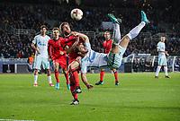 SAN SEBASTIAN, SPAIN - DECEMBER 07, 2017. 2017-18 UEFA Europa League Group L Round 6 football match: Real Sociedad (San Sebastian) - Zenit (St Petersburg) 1 - 3. Real Sociedad's Asier Illarramendi Andoneg (L) and Zenit St Petersburg's Branislav Ivanovich (R).