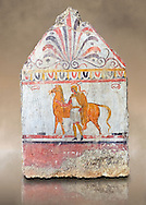 Lucanian fresco tomb painting of a soldier vand a horse. Paestrum, Andriuolo. 3rd Century BC .<br /> <br /> If you prefer to buy from our ALAMY PHOTO LIBRARY  Collection visit : https://www.alamy.com/portfolio/paul-williams-funkystock - Scroll down and type - Paestum Fresco - into LOWER search box. {TIP - Refine search by adding a background colour as well}.<br /> <br /> Visit our ANCIENT GREEKS PHOTO COLLECTIONS for more photos to download or buy as wall art prints https://funkystock.photoshelter.com/gallery-collection/Ancient-Greeks-Art-Artefacts-Antiquities-Historic-Sites/C00004CnMmq_Xllw