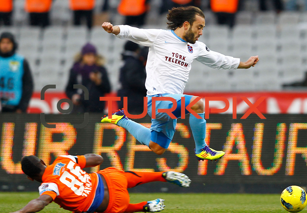 Trabzonspor's Olcan Adin (R) during their Turkish soccer superleague match IBBSpor between Trabzonspor at the Ataturk Olympic stadium in Istanbul Turkey on Saturday 07 January 2012. Photo by TURKPIX
