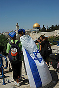 A group of Young tourists at the Wailing wall,  old city of Jerusalem