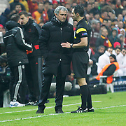 Chelsea's coach Jose Mourinho (C) during their UEFA Champions League Round of 16 First leg soccer match Galatasaray between Chelsea at the AliSamiYen Spor Kompleksi in Istanbul, Turkey on Wednesday 26 February 2014. Photo by Aykut AKICI/TURKPIX
