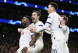 LONDON, Nov. 27, 2019  Tottenham Hotspur's Serge Aurier (1st L) celebrates scoring with teammates during the UEFA Champions League Group B match between Tottenham Hotspur and Olympiakos at the Tottenham Hotspur Stadium in London, Britain on Nov. 26, 2019..FOR EDITORIAL USE ONLY. NOT FOR SALE FOR MARKETING OR ADVERTISING CAMPAIGNS. NO USE WITH UNAUTHORIZED AUDIO, VIDEO, DATA, FIXTURE LISTS, CLUB/LEAGUE LOGOS OR ''LIVE'' SERVICES. ONLINE IN-MATCH USE LIMITED TO 45 IMAGES, NO VIDEO EMULATION. NO USE IN BETTING, GAMES OR SINGLE CLUB/LEAGUE/PLAYER PUBLICATIONS. (Photo by Matthew Impey/Xinhua) (Credit Image: © Han Yan/Xinhua via ZUMA Wire)