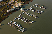 Aerial view of the Sunset Cay Marina along Folly Creek in Charleston, SC.