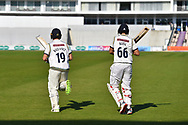 Joe Root of Yorkshire and Gary Ballance of Yorkshire walk out to bat after tea during the Specsavers County Champ Div 1 match between Hampshire County Cricket Club and Yorkshire County Cricket Club at the Ageas Bowl, Southampton, United Kingdom on 11 April 2019.