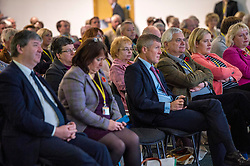 Pictured: Alistair Carmichael, MSP, Christine Jardine, MP,  Willie Rennie and Mike Rumbles take in Jo Swinton's speach to the conference.<br /> The Scottish Liberal Democrats stalwarts gathered today in Dunfermline for their Autumn Conference<br /> <br /> Ger Harley | EEm 11 November 2017