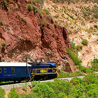 South America, Peru. Hiram Bingham luxury train to Machu Picchu.