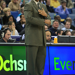 02 February 2009:  New Orleans Hornets coach Byron Scott instructs his team during a 97-89 loss by the New Orleans Hornets to the Portland Trail Blazers at the New Orleans Arena in New Orleans, LA.