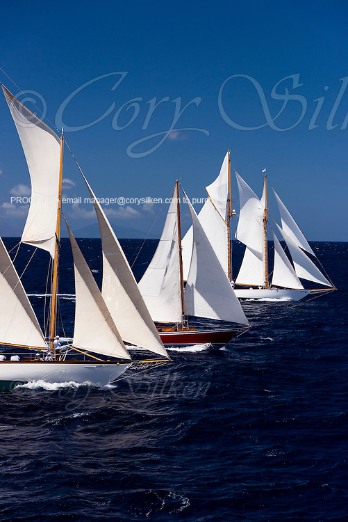 Adventuress, Savvy, and Mary Rose sailing in the Antigua Classic Yacht Regatta, Windward Race.