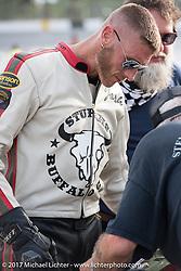 Moonshiner Josh Owens at Billy Lane's Sons of Speed vintage motorcycle racing during Biketoberfest. Daytona Beach, FL, USA. Saturday October 21, 2017. Photography ©2017 Michael Lichter.