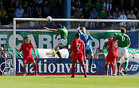 Photo: Andrew Unwin.<br /> Northern Ireland v Wales. World Cup Qualifier.<br /> 08/10/2005.<br /> Northern Ireland's Michael Duff (#2) comes close with an early header.