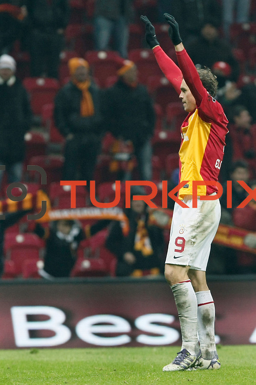 Galatasaray's Johan Elmander celebrate his goal during their Turkish Super League soccer match Galatasaray between Kardemir Karabukspor at the Turk Telekom Arena at Seyrantepe in Istanbul Turkey on Saturday 14 January 2012. Photo by TURKPIX