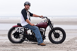 Ed Jakubowski Jr with his 1947 Harley-Davidson 45 inch WL flathead at TROG (The Race Of Gentlemen). Wildwood, NJ. USA. Sunday June 10, 2018. Photography ©2018 Michael Lichter.