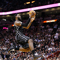 19 January 2012: Miami Heat small forward LeBron James (6) goes for the lay up during the Miami Heat 98-87 victory over the Los Angeles Lakers at the AmericanAirlines Arena, Miami, Florida, USA.