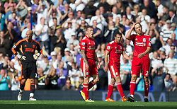 18.09.2011, White Hart Lane, London, ENG, PL, Tottenham Hotspur FC vs Liverpool FC, im Bild Liverpool's Craig Bellamy and Lucas Leiva look dejected after Tottenham Hotspur score the fourth goal during the Premiership match at White Hart Lane. EXPA Pictures © 2011, PhotoCredit: EXPA/ Propaganda Photo/ David Rawcliff +++++ ATTENTION - OUT OF ENGLAND/GBR+++++