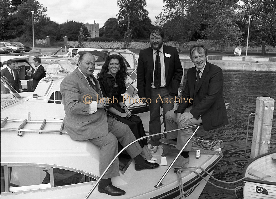 """Galway Oyster Festival..1982.09.09.1982.09.09.1982.9th September 1982...Photo of the Galway Oyster Festival..The Festival was held on the banks of the Shannon at Portumna Co.,Galway..It was held in the picturesque new marina. The event was sponsored by Guinness. Emerald Star line were also represented..Picture shows Mr.R.B.Howick,Trade Director,Guinness Group Sales.Ms Marion Fitzpatrick, Oyster Festival """"Pearl"""". Mr John Lefroy, Manager, Emerald Star Line and Festival Chairman Mr. Donal Morrissy"""