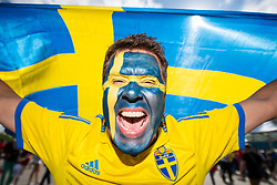 July 3, 2018 - St Petersburg, Russia - A fan of Sweden outside the arena prior to the FIFA World Cup round of 16 match between Sweden and Switzerland in ST Petersburg. (Credit Image: © Petter Arvidson/Bildbyran via ZUMA Press)