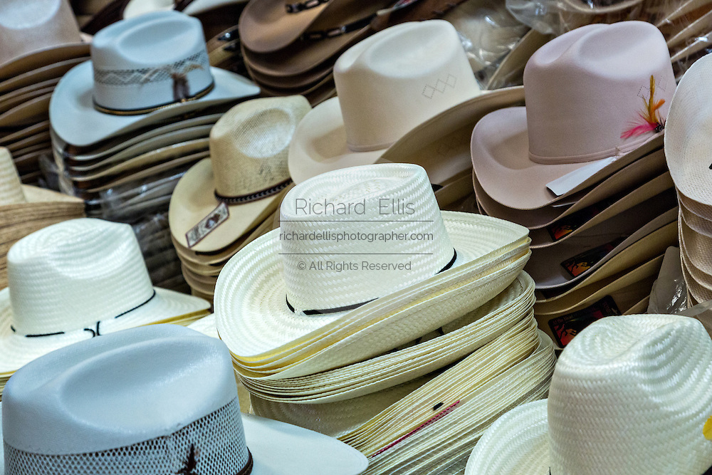 Cowboy hats at Benito Juarez market in Oaxaca, Mexico.
