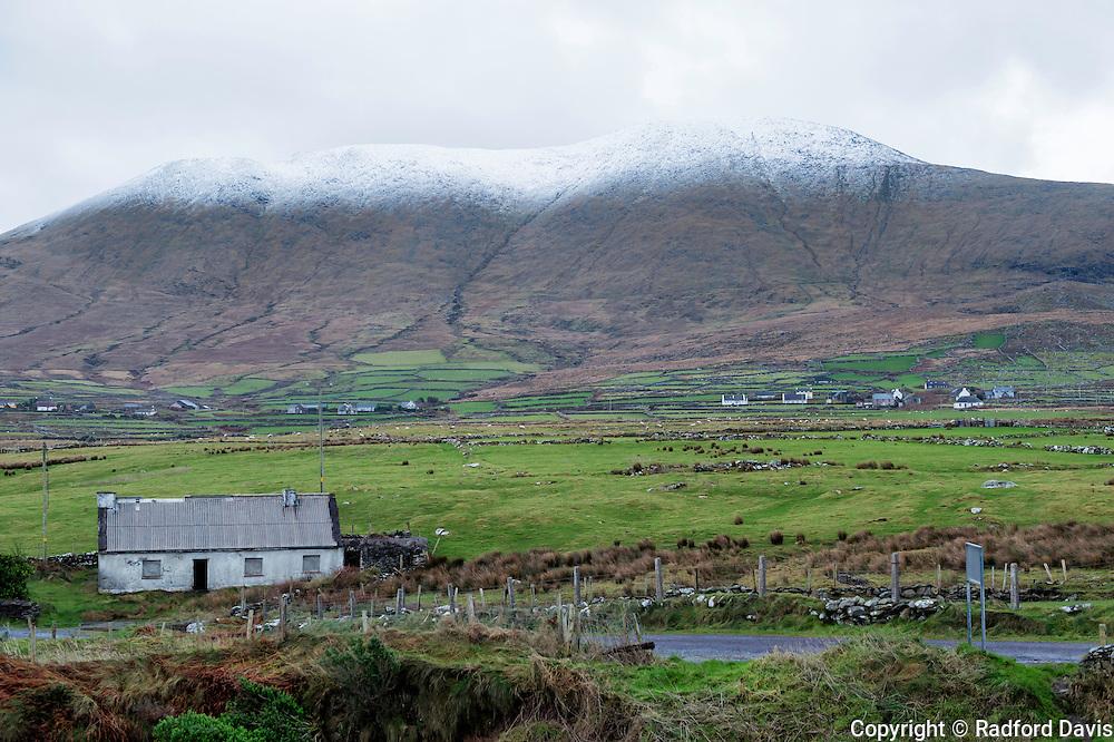 Snowy hills near Brandon Creek and Mt. Brandon, Ireland