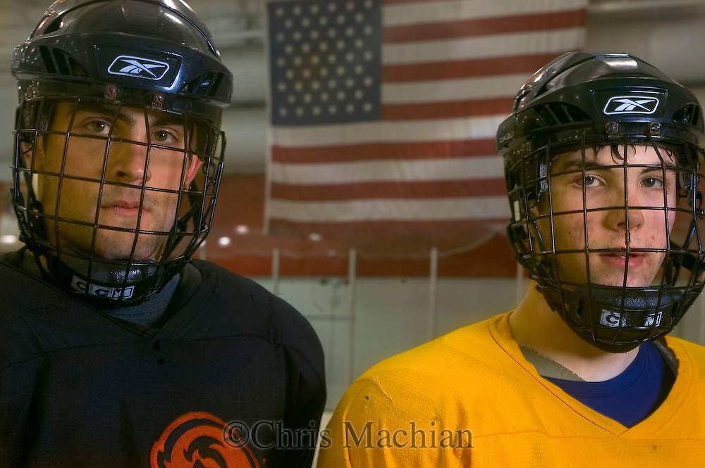 1/4/07 -- Omaha, NE<br />  -- USHL players Nick Petrecki (left) and Jack Downing at practice.<br /> <br /> Photo by Chris Machian, Prairie Pixel Group