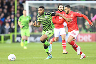 Forest Green Rovers Ebou Adams(14) takes on Swindon Town's Keshi Anderson(30) during the EFL Sky Bet League 2 match between Forest Green Rovers and Swindon Town at the New Lawn, Forest Green, United Kingdom on 21 December 2019.