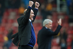 Hull City caretaker manager Mike Phelan celebrates as his team take the lead during the EFL Cup, Third Round match at the Bet365 Stadium, Stoke-on-Trent.