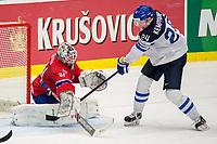 Ishockey<br /> VM 2015<br /> 04.05.2015<br /> Norge v Finland<br /> Foto: imago/Digitalsport<br /> NORWAY ONLY<br /> <br /> Joonas Kemppainen (FIN) scores against Goalie Lars Volden (NOR)