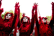 Protesters take part in the last day of two weeks of protests organised by Extinction Rebellion to draw attention to the climate emergency on October 18th in Westminster, London. Many activists painted their hands red and where possible left hand prints although a strong police presence made this difficult. The Red Brigade.