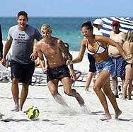 Football star James Rodríguez playing beach soccer