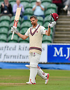 100 for James Hildreth of Somerset - James Hildreth of Somerset celebrates scoring his century during the Specsavers County Champ Div 1 match between Somerset County Cricket Club and Middlesex County Cricket Club at the Cooper Associates County Ground, Taunton, United Kingdom on 27 September 2017. Photo by Graham Hunt.