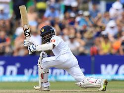November 9, 2018 - Galle, Sri Lanka - Sri Lankan cricketer Kaushal Silva plays a shot during the 4th day's play of the first test cricket match between Sri Lanka and England at Galle International cricket stadium, Galle, Sri Lanka. 11-09-2018  (Credit Image: © Tharaka Basnayaka/NurPhoto via ZUMA Press)