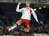 Republic of Ireland v Denmark 2018 FIFA World Cup WM Weltmeisterschaft Fussball Qualifying Nicklas Bendtner of Denmark celebrates after scoring from the penalty spot during the 2018 FIFA World Cup Qualifying match at the Aviva Stadium,   PUBLICATIONxNOTxINxUK