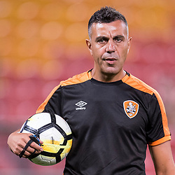 BRISBANE, AUSTRALIA - OCTOBER 13: Assistant coach Ross Aloisi looks on during the Round 2 Hyundai A-League match between Brisbane Roar and Adelaide United on October 13, 2017 in Brisbane, Australia. (Photo by Patrick Kearney)