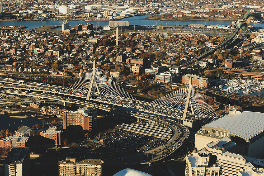 Boston's Zakim Bridge seen from above in a helicopter on a autumn afternoon.