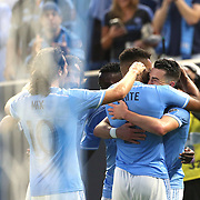 NEW YORK, NEW YORK - June 02: Jack Harrison #11 of New York City FC is congratulated by team mates after scoring during the NYCFC Vs Real Salt Lake regular season MLS game at Yankee Stadium on June 02, 2016 in New York City. (Photo by Tim Clayton/Corbis via Getty Images)