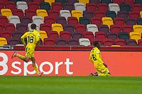 Football - 2020 / 2021 Sky Bet (EFL) Championship - Brentford vs. Wycombe Wanderers  - Brentford Community Stadium<br /> <br /> Admiral Muskwe (Wycombe Wanderers) celebrates after scoring his teams equaliser<br /> <br /> COLORSPORT/DANIEL BEARHAM