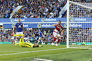 Everton Goalkeeper Maarten Stekelenburg slumps dejected after he gets the last touch for an own goal and scores the 1st Middlesbrough goal as Middlesbrough's Alvaro Negredo © looks on. Premier league match, Everton v Middlesbrough at Goodison Park in Liverpool, Merseyside on Saturday 17th September 2016.<br /> pic by Chris Stading, Andrew Orchard sports photography.