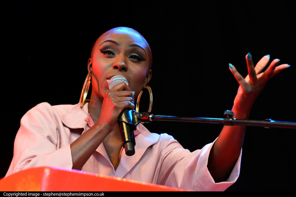© Licensed to London News Pictures. 25/08/2013. London, UK. Laura Mvula performs. The English Heritage concert season returns to Kenwood House in Hampstead, London, with  Live by the Lake. The season includes Suede, a Choral Greats concert, Keane, an outdoor live screening of Singin' in the Rain featuring the Royal Philharmonic Concert Orchestra, Opera Alfresco and an evening of Gershwin. . Photo credit : Stephen Simpson/LNP