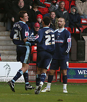 Photo:Mark Stephenson,Walsall fc v Swindon Town.<br />Coca Cola league 2,9-12-2006<br />Swindons goal scorer Lucas Jutkiewicz (L) celebrates with team mates.
