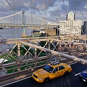 Cab on the Brooklyn Bridge.