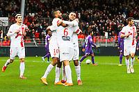 JOIE 1ER BUT BREST Bruno GROUGI  - 20.12.2014 - Brest / Ajaccio - 18eme journee de Ligue 2 <br /> Photo : Vincent Michel / Icon Sport