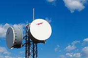 Microwave radio link relay repeater dish antenna in Sofala, New South Wales. <br />