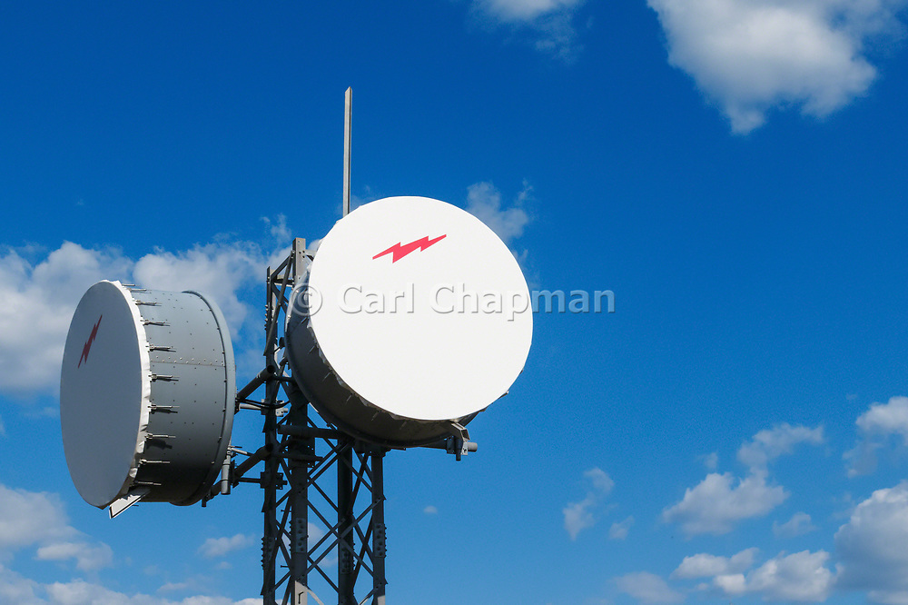 Microwave radio link relay repeater dish antenna in Sofala, New South Wales. <br /> <br /> Editions:- Open Edition Print / Stock Image