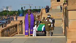 60818554  <br /> The coffin of former South African President Nelson Mandela arrives at the Union Buildings in Pretoria, South Africa, on Dec. 11, 2013. Thousands of South Africans on Wednesday thronged to the Union Buildings in Pretoria where the body of former South African president Nelson Mandela will lie in state for three days, Wednesday, 11th December 2013. Picture by  imago / i-Images<br /> UK ONLY