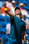 Denis Shapovalov of Canada serves during the Nature Valley International at Devonshire Park, Eastbourne, United Kingdom on 27 June 2018. Picture by Martin Cole.