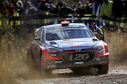 October 14, 2016 - Barcelona, Spain - Daniel Sordo and his co-driver Marc Marti of Hyundai Motorsport, driving their Hyundai i20 WRC, during the Caseres Stage of the Rally RACC Catalunya, on October 14, 2016 in Salou, Spain. (Credit Image: © Joan Cros/NurPhoto via ZUMA Press)