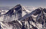 SW face Everest, Sagarmatha, Chomolungma, showing South Col, aerial view from over S face lhotse- Nuptse wall, Nepal Himalaya. Photo: Dick & Pip Smith