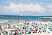 Sunny winter's day on Gordon Beach, Tel Aviv, Israel