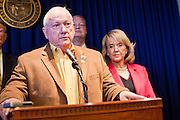 09 MAY 2011 - PHOENIX, AZ: RUSSELL PEARCE, the Republican President of the Arizona State Senate, during a press conference at the Arizona State Capitol in Phoenix Monday. Governor Jan Brewer, State Senate President Russell Pearce and Attorney General Tom Horne, all Republicans, held one press conference to announce that the state was suing to take its legal battle over SB1070, Arizona's tough anti-immigration law, past the US Court of Appeals and straight to the US Supreme Court. State Senator Steve Gallardo, a Democrat, held a press conference to announce that he was opposed to the Republican's legal actions and called on them to drop the suit altogether. Isolated shouting matches broke out between activists on both sides of the immigration issue during the press conferences.       Photo by Jack Kurtz